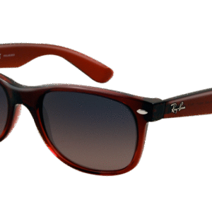 RB 2132 New Wayfarer 843 77 52 burdeos degradado -Lente azul rosa degradado polarizado