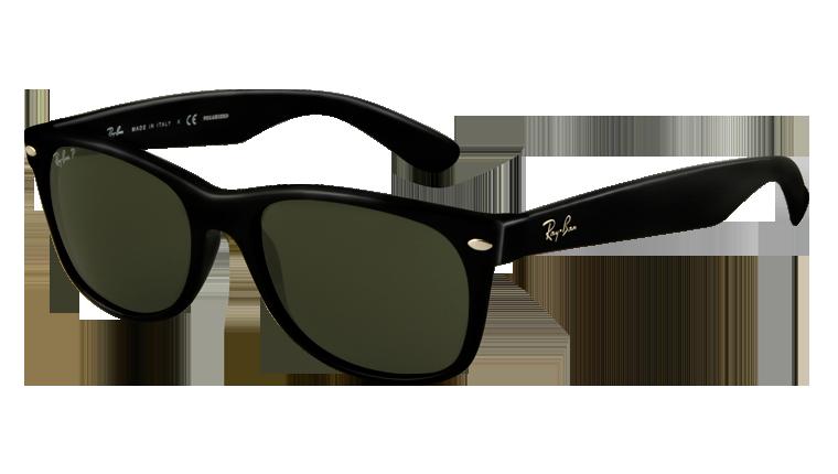 RB 2132 New Wayfarer 901 58 52 Negro brillo-Lente verde polarizado