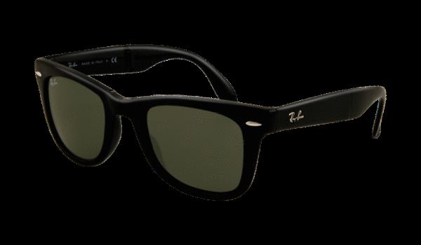 Ray-Ban 4105 Folding Wayfarer 601S 5022 Negro Mate - Lente verde
