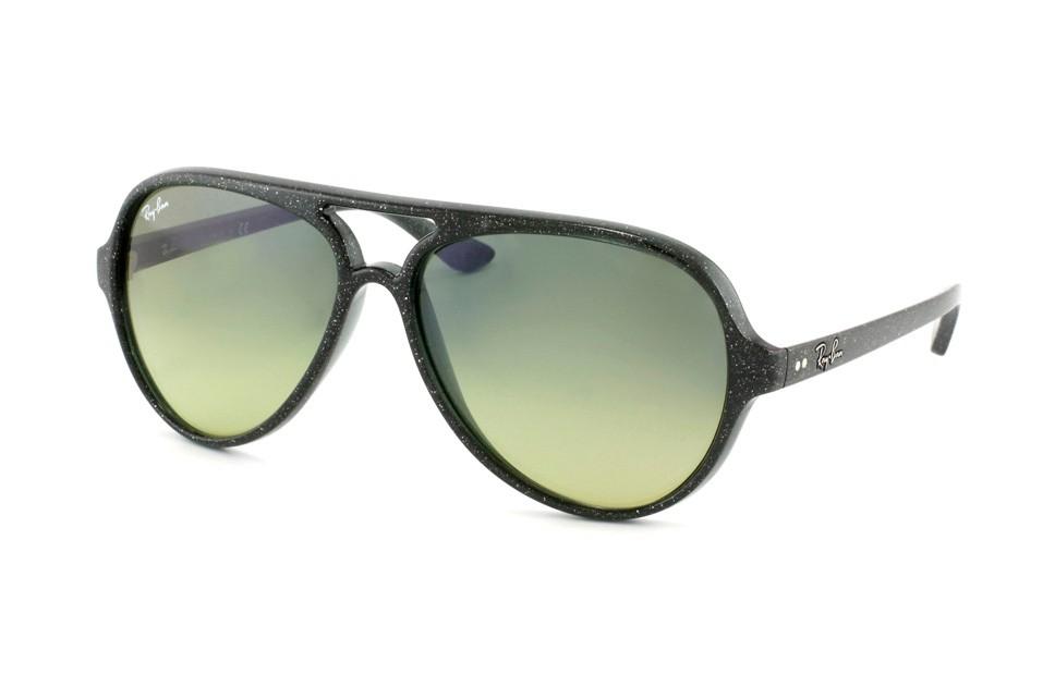 Ray-Ban 4125 Cats 808 28 Montura Verde Glitter - Lente Azul Gradiente Amarillo