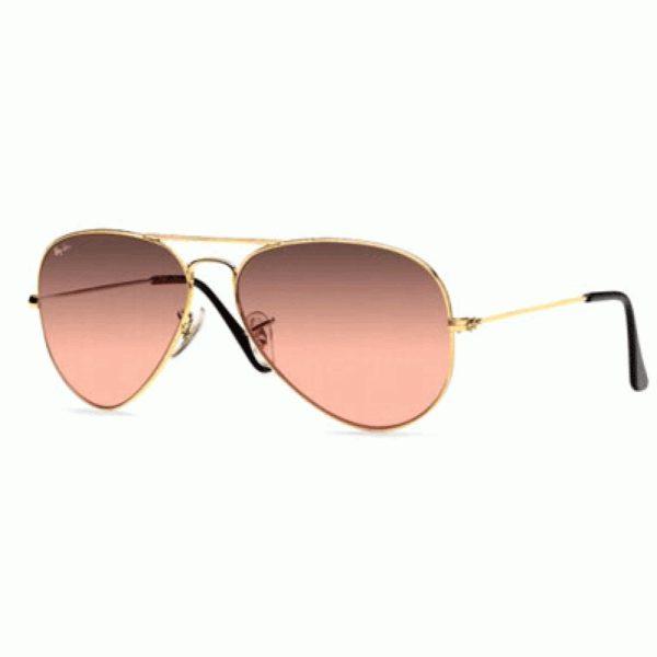 Ray-Ban RB 3025 Aviator 001 3E 55 Montura Dorado - Lente marrón degradado a rosa espejado gris