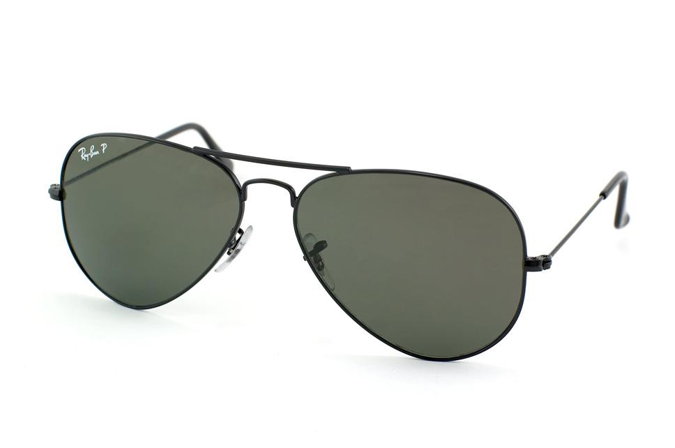 Ray-Ban RB 3025 Aviator 002 58 55 Montura Negro - Lente verde polarizado