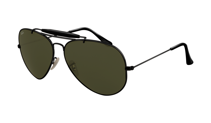Ray-Ban RB 3030 Outdoorsman 002 L9500 Montura Negro - Lente Verde G15