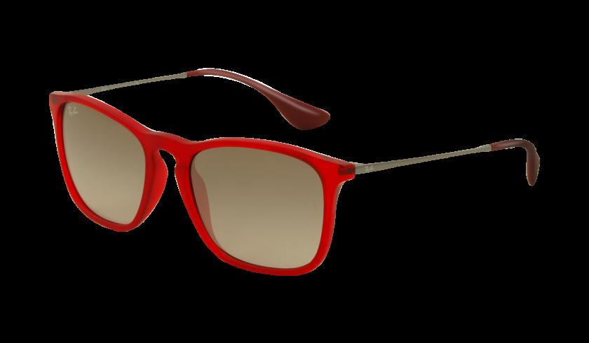 Ray-ban RB4187 CHRIS 898 11 Montura Rojo Transparente caucho - Lente Gris degradado