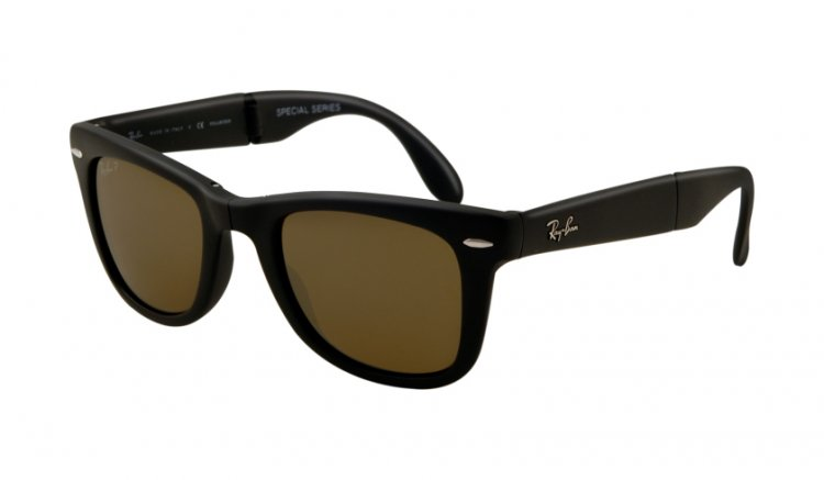 Ray-Ban RB4105 Folding Wayfarer 601S 55 50 - Montura Negro Mate - Lente Marrón Degradado Polarizada